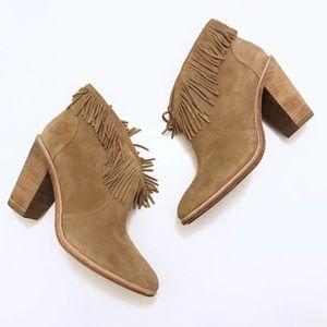 Joie Loren Boho Fringe Suede Ankle Bootie Size 10